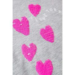 Mango Kids - Top dziecięcy Ariesc 110-164 cm. Szare bluzki dziewczęce Mango Kids, z aplikacjami, z bawełny, z okrągłym kołnierzem. W wyprzedaży za 39,90 zł.