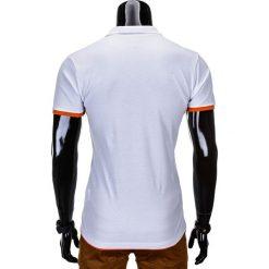 KOSZULKA MĘSKA POLO BEZ NADRUKU S758 - BIAŁA/POMARAŃCZOWA. Białe koszulki polo Ombre Clothing, m, z nadrukiem. Za 39,00 zł.