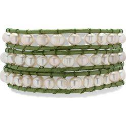 Bransoletki damskie na nogę: Skórzana bransoletka w kolorze jasnozielonym z hodowlanymi perłami słodkowodnymi