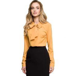 Żółta Elegancka Bluzka z Wiązaniem. Żółte bluzki longsleeves Molly.pl, l, z tkaniny, eleganckie, dekolt w kształcie v. Za 95,90 zł.