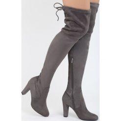 Szare Kozaki Same Girl. Szare buty zimowe damskie marki Born2be, z materiału, z okrągłym noskiem, na wysokim obcasie, na obcasie. Za 129,99 zł.