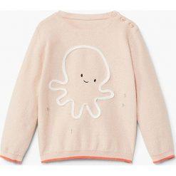 Mango Kids - Sweter dziecięcy Pulpi 62-80 cm. Szare swetry dziewczęce Mango Kids, z bawełny, z okrągłym kołnierzem. Za 69,90 zł.