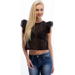 Bluzki asymetryczne: Czarna koronkowa bluzka 20529