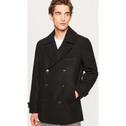 Płaszcze na zamek męskie: Krótki płaszcz z wełną - Czarny