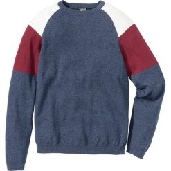 Sweter Regular Fit bonprix niebieski indygo - czerwony. Niebieskie swetry klasyczne męskie marki bonprix, m, z kontrastowym kołnierzykiem. Za 37,99 zł.