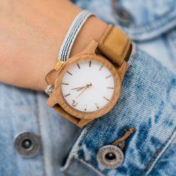 Zegarek Neat Zegarek damski wiąz drewniany biało-złoty II 38mm. Białe zegarki damskie Neat, złote. Za 324,00 zł.
