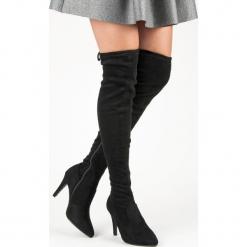 ZAMSZOWE MUSZKIETERKI NA SZPILCE. Szare buty zimowe damskie marki Born2be, z okrągłym noskiem, na niskim obcasie, na słupku. Za 51,00 zł.