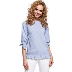 Niebieska Bluzka w Cienkie Paski z Falbanką. Niebieskie bluzki nietoperze Molly.pl, l, w paski, z elastanu, z falbankami, z krótkim rękawem. Za 99,90 zł.