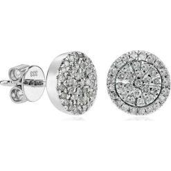 Piękne Białe Złoto Kolczyki - złoto białe 333, Diament 0,39ct. Białe kolczyki damskie W.KRUK, z diamentem, złote. Za 2690,00 zł.