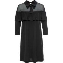 Sukienki: Sukienka z kołnierzykiem i falbaną bonprix czarny