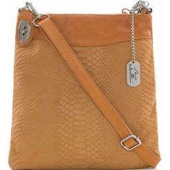 Torebki klasyczne damskie: Skórzana torebka w kolorze jasnobrązowym - 26 x 28 x 3 cm