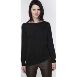 Bluzki damskie: Stylowa Czarna Bluzka z Asymetrycznym Dołem z Suwakiem