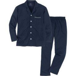 Piżama z dżerseju w dopasowanym fasonie bonprix ciemnoniebieski. Niebieskie piżamy męskie bonprix, l, z dżerseju. Za 69,99 zł.