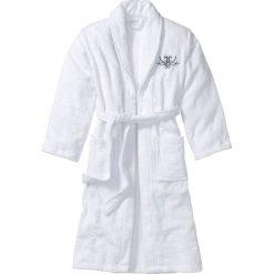 Szlafrok z frotte bonprix biały. Białe szlafroki kimona damskie bonprix, w paski. Za 99,99 zł.