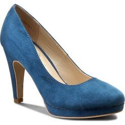 Półbuty JENNY FAIRY - W17SS703-1 Niebieski. Niebieskie creepersy damskie Jenny Fairy, z materiału, na obcasie. W wyprzedaży za 49,99 zł.