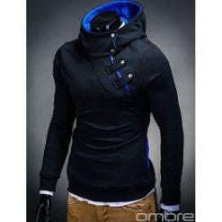 BLUZA MĘSKA Z KAPTUREM PACO - CZARNA/TURKUSOWA. Czarne bluzy męskie rozpinane marki Ombre Clothing, m, z bawełny, z kapturem. Za 69,00 zł.