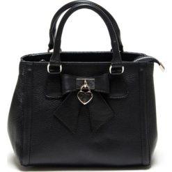 Torebki klasyczne damskie: Skórzana torebka w kolorze czarnym – 28 x 22 x 14 cm