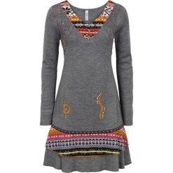 Sukienka dzianinowa etno bonprix szary melanż. Czarne sukienki dzianinowe marki bonprix. Za 129,99 zł.