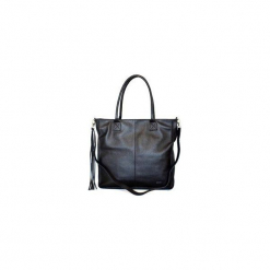Torba skórzana czarna z frędzlami. Czarne torebki klasyczne damskie Glm grosicki, w paski, małe, z frędzlami. Za 395,00 zł.