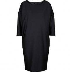 Sukienka bonprix czarny. Niebieskie sukienki dzianinowe marki bonprix, z nadrukiem. Za 59,99 zł.