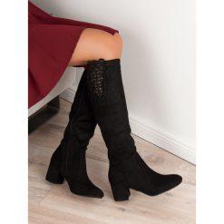 Buty zimowe damskie: ELEGANCKIE KOZAKI NA OBCASIE