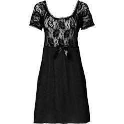 Koszulka nocna bonprix czarny. Czarne koszule nocne i halki bonprix, w koronkowe wzory, z koronki. Za 74,99 zł.