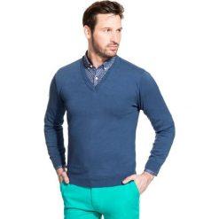Sweter FABRIZIO SWNR000135. Niebieskie swetry klasyczne męskie marki Giacomo Conti, na jesień, m, z bawełny. Za 149,00 zł.
