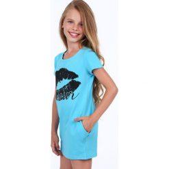 Sukienka dziewczęca z nadrukiem niebieska NDZ8177. Szare sukienki dziewczęce marki Fasardi. Za 49,00 zł.