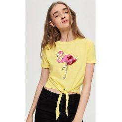 Bluzki, topy, tuniki: T-shirt z flamingiem – Żółty