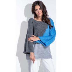 Trójkolorowy Niebieski Sweter Damski Typu Nietoperz. Niebieskie swetry klasyczne damskie Molly.pl, uniwersalny. Za 90,00 zł.