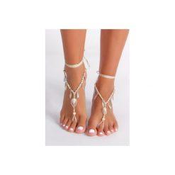 Bransoletki damskie: Biała bransoletka na stopę Big Leaf
