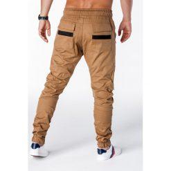 SPODNIE MĘSKIE JOGGERY P708 - RUDE. Brązowe joggery męskie marki Ombre Clothing. Za 79,00 zł.