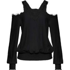 Bluzka z koronką i wycięciami bonprix czarny. Czarne bluzki asymetryczne bonprix, w koronkowe wzory, z koronki. Za 89,99 zł.