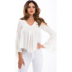 Bluzki asymetryczne: Kremowa bluzka z wyciętymi ramionami 00360