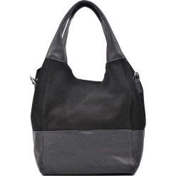 Torebki klasyczne damskie: Skórzana torebka w kolorze czarno-szarym – 36 x 35 x 19 cm