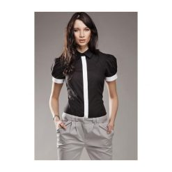 Koszula Black & White k33 Czarna. Białe koszule damskie marki NIFE, eleganckie. Za 73,00 zł.