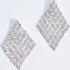 Kolczyki damskie: Geometryczne kolczyki z kryształkami – Srebrny
