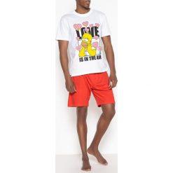Piżamy męskie: Krótka piżama z bawełny, nadruk Simpsonów