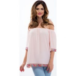 Bluzki asymetryczne: Pudrowy róż bluzka z aplikacjami 8508