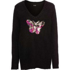 Swetry klasyczne damskie: Sweter z cekinami bonprix czarny