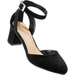 Czółenka z paskiem bonprix czarny. Czarne buty ślubne damskie bonprix, w paski. Za 89,99 zł.