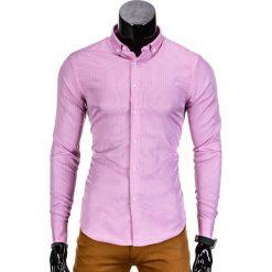 KOSZULA MĘSKA ELEGANCKA Z DŁUGIM RĘKAWEM K349 - RÓŻOWA. Czerwone koszule męskie na spinki Ombre Clothing, m, z bawełny, z klasycznym kołnierzykiem, z długim rękawem. Za 39,00 zł.