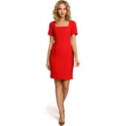 Czerwona Elegancka Ołówkowa Sukienka z Dekoltem Karo z Krótkim Rękawem. Czerwone sukienki balowe Molly.pl, na co dzień, l, z dekoltem karo, z krótkim rękawem, mini, ołówkowe. Za 125,90 zł.