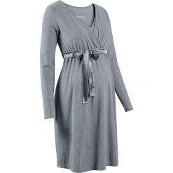 Sukienka ciążowa i do karmienia bonprix szary melanż. Szare sukienki ciążowe bonprix, melanż, z satyny, z dekoltem w serek. Za 99,99 zł.