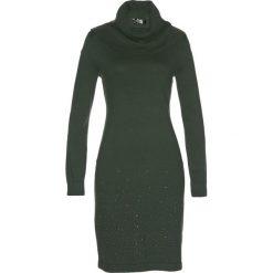Sukienka dzianinowa bonprix nocny oliwkowy. Zielone sukienki dzianinowe marki bonprix, z golfem. Za 109,99 zł.