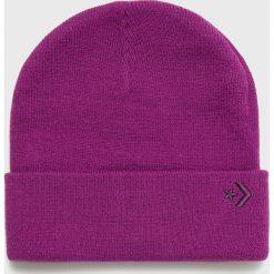 Converse - Czapka. Fioletowe czapki zimowe damskie Converse, na zimę, z dzianiny. Za 89,90 zł.