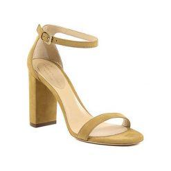 Sandały damskie: Skórzane sandały w kolorze musztardowym