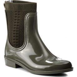Kalosze TOMMY HILFIGER - Tommy Knit Rain Boot FW0FW02940 Dusty Olive 011. Czarne buty zimowe damskie marki TOMMY HILFIGER, z materiału, z okrągłym noskiem, na obcasie. W wyprzedaży za 319,00 zł.