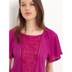 Bluzki asymetryczne: Gładka koszulka, wstawka z przodu, trójmywmiarowy kwiat