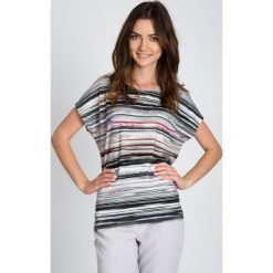 Bluzki damskie: Szara bluzka w asymetryczne paski QUIOSQUE
